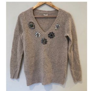 J. Crew Jeweled Wool Sweater XXS
